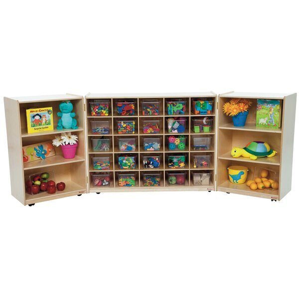 Tri Folding 31 Compartment Shelving Unit with Casters by Wood Designs