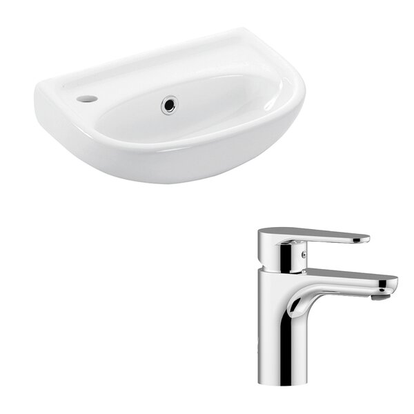 Basic Ceramic 16 Wall Mount Bathroom Sink with Faucet and Overflow by WS Bath Collections