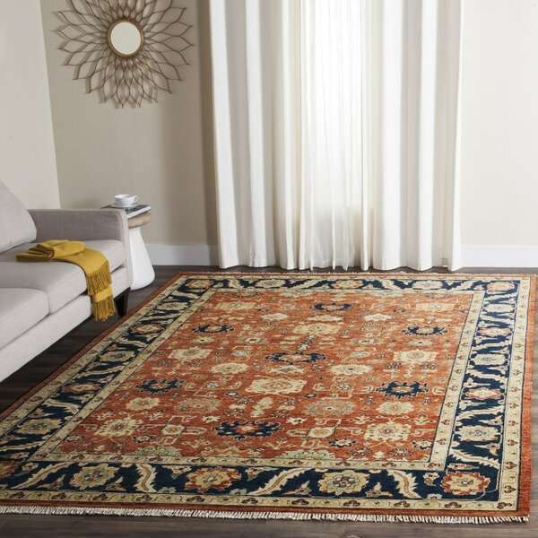 Larkson Hand-Knotted Rust Area Rug by Bloomsbury Market