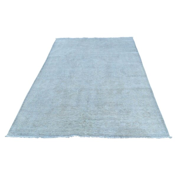 One-of-a-Kind Grimaldo Silver Wash Peshawar Oriental Hand-Knotted Blue Area Rug by World Menagerie