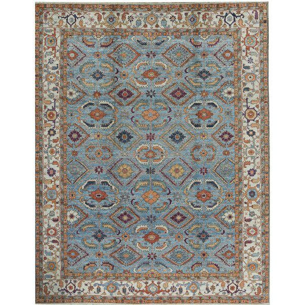 Oriental Hand-Knotted Light Blue/Ivory Area Rug