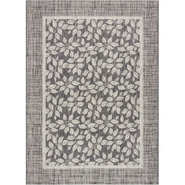 Key Haven Charcoal Indoor/Outdoor Area Rug by Bay Isle Home