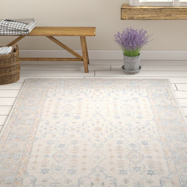 Yassine Hand-Knotted Ivory/Blue Area Rug by One Allium Way