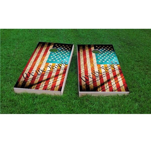 Worn Flag We The People Light Weight Cornhole Game Set by Custom Cornhole Boards