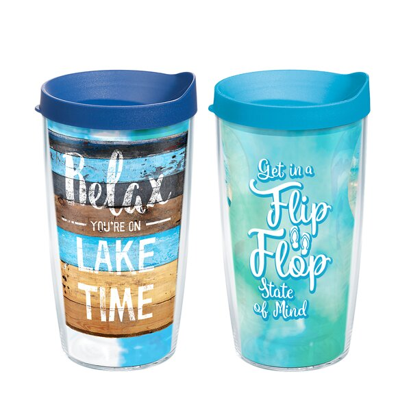 Lake Time and Flip Flop State of Mind 2 Piece 16 oz. Plastic Travel Tumbler Set by Tervis Tumbler