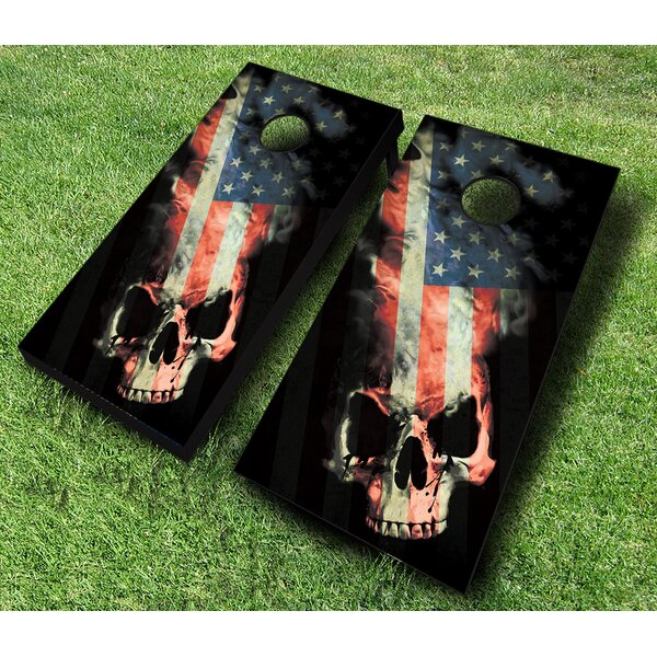 American Skull Cornhole Set with Bags by AJJ Cornhole