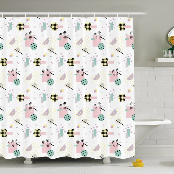 Modern Art Home Pastel Colored Diagonal and Hexagonal with Dots inside Hipster Kids Theme Shower Curtain Set by Ambesonne