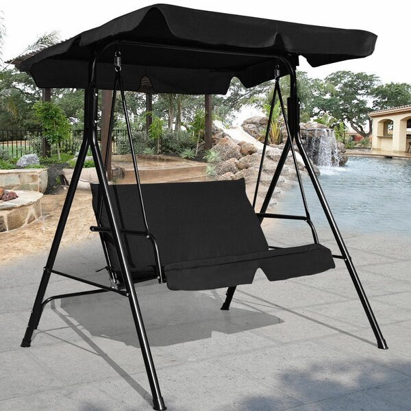 Priory Patio Loveseat Canopy Hammock Porch Swing with Stand by Winston Porter