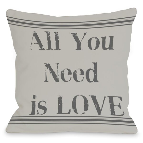 All You Need is Love Vintage Stripe Throw Pillow by One Bella Casa