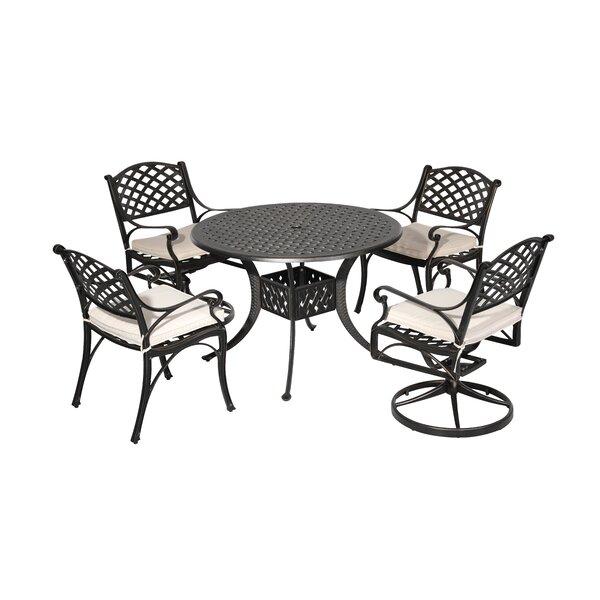Vesta 5 Piece Dining Set with Cushions by Fleur De Lis Living