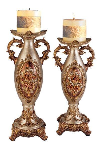 2 Piece Intricate Rose Decorative Candlestick Set by Sintechno