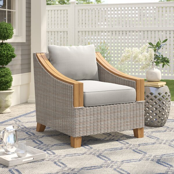 Kincaid Teak Patio Chair with Cushions by Rosecliff Heights