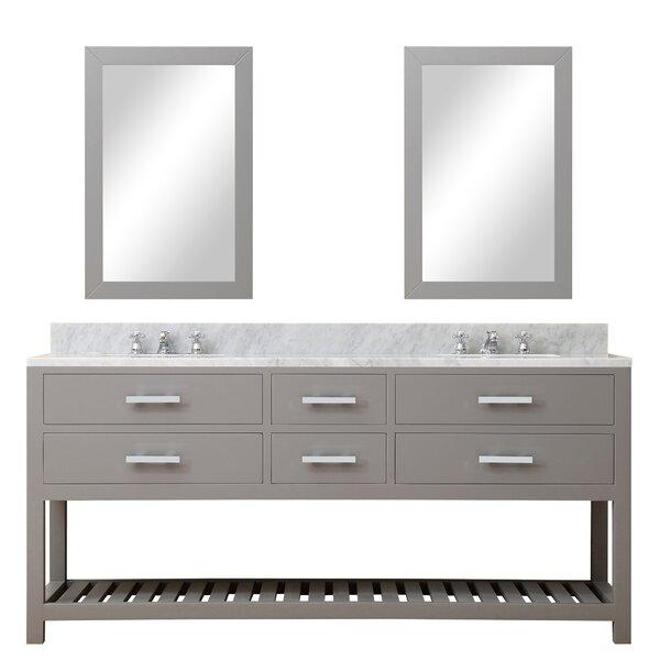 Perego 72 Double Sink Bathroom Vanity Set with Mirror
