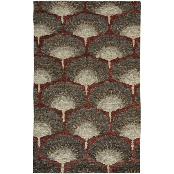 Chappell Hand-Knotted Red/Gray Area Rug by Bloomsbury Market