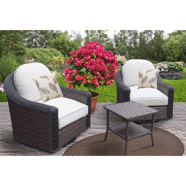 Geddes 3 Piece Sunbrella Conversation Set with Cushions by Bayou Breeze