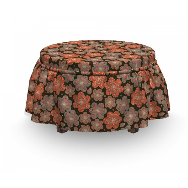 Ornate Spring Blooms Ottoman Slipcover (Set Of 2) By East Urban Home