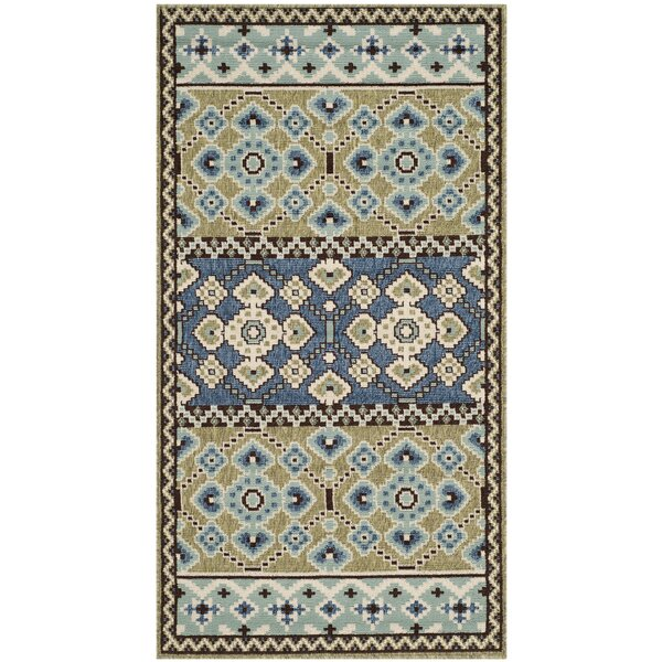Serrano Green / Blue Area Rug by World Menagerie