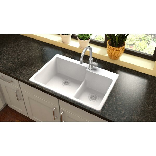 Quartz Classic 33 L x 22 W Double Basin Top Mount Kitchen Sink with Aqua Divide by Elkay