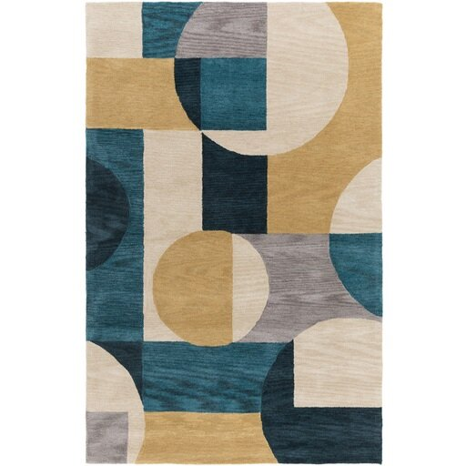 Dittmar Hand-Tufted Blue/Green Area Rug by Ebern Designs