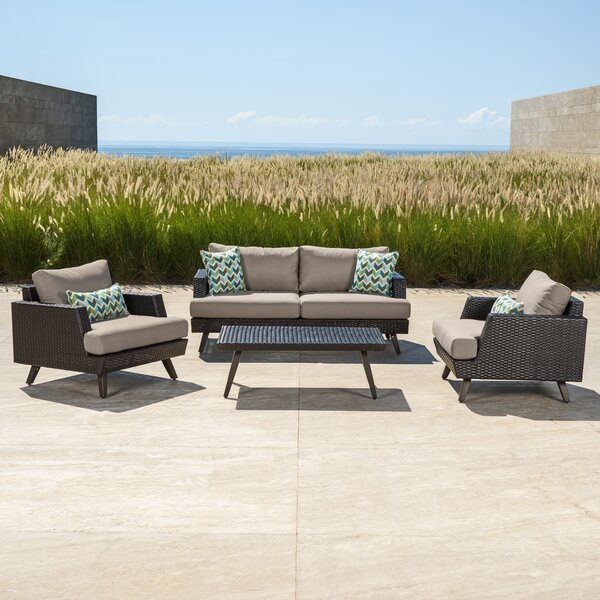 Shawnee 4 Piece Sunbrella Sofa Seating Group with Cushions by Brayden Studio