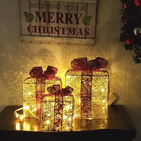 3 Piece Gift Box Lighted Display Decoration Set by The Holiday Aisle