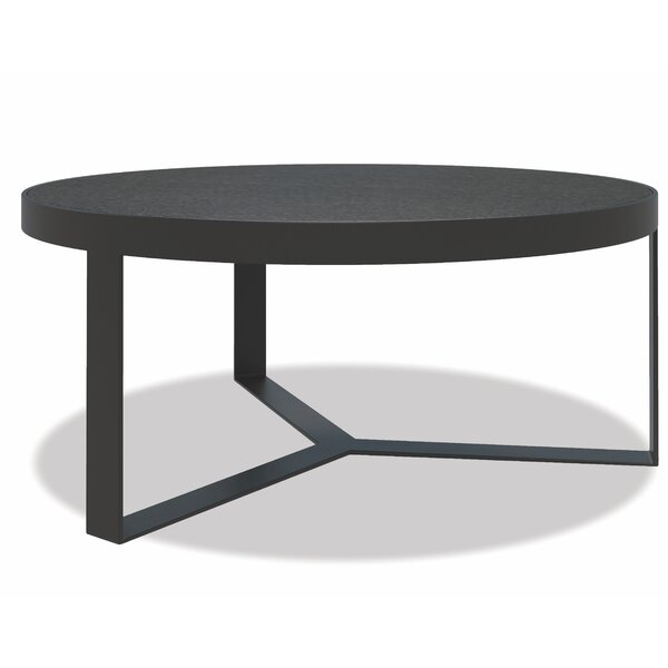 Contemporary 38 inch  Round Coffee Table Slate Finish With Honed Granite Top by Sunset West