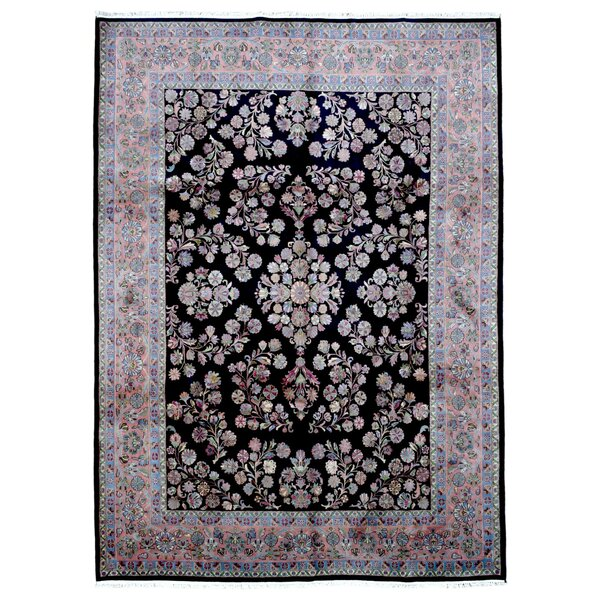 One-of-a-Kind Kester Sarouk Oriental Hand Woven Wool Black/Blue/Pink Area Rug by Astoria Grand