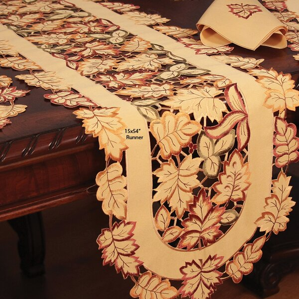 Wendling Embroidered Cutwork Fall Table Runner by Astoria Grand