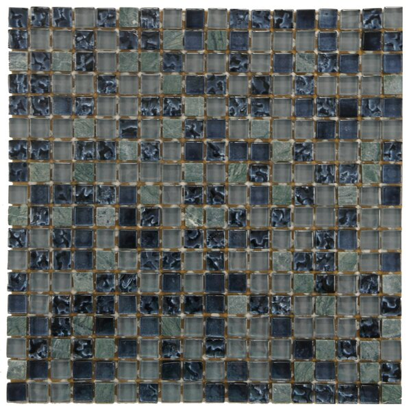 Sierra 0.58 x 0.58 Glass and Natural Stone Mosaic Tile in Blue/Gray by EliteTile