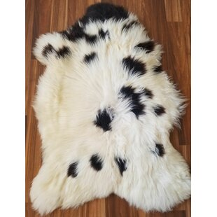 Affordable Abbott Spotted Sheepskin/Wool Black/White Area Rug By Millwood Pines