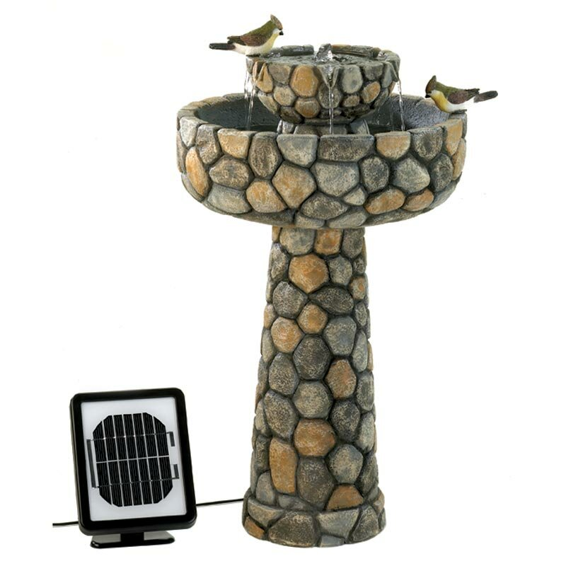 Polyresin Solar Two Tier Cobblestone Water Fountain