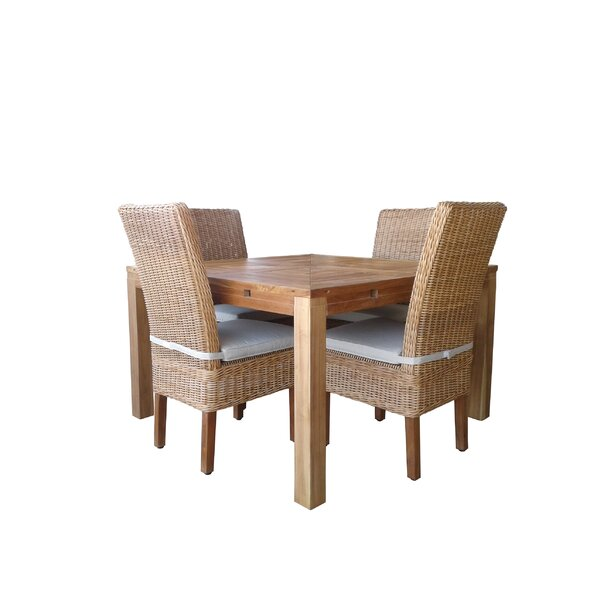 Hamish 5 Piece Teak Dining Set with Cushions by Gracie Oaks