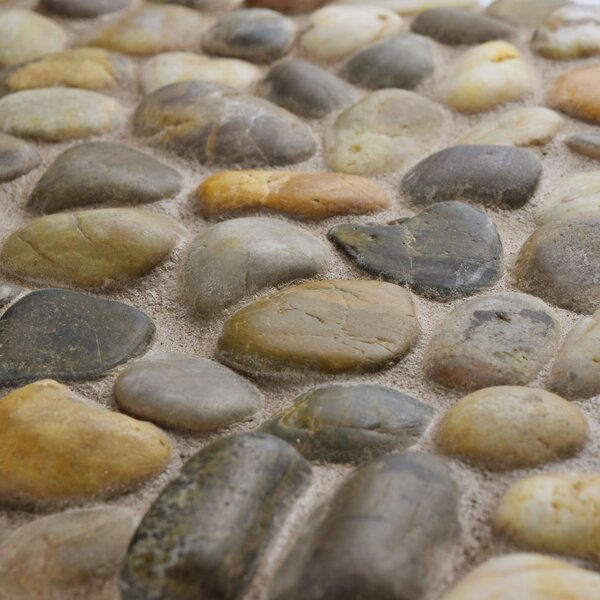 Brook 11.75 x 11.75 Natural Stone Pebble Tile in Blue/Beige by EliteTile