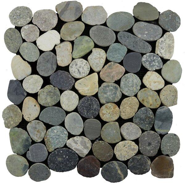 Sliced Random Sized Natural Stone Pebble Tile in Grey Blend by Pebble Tile