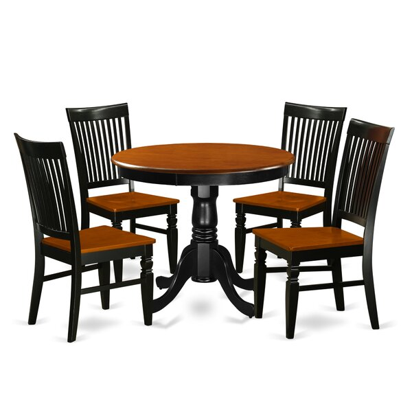 Hassan 5 Piece Solid Wood Breakfast Nook Dining Set by August Grove August Grove