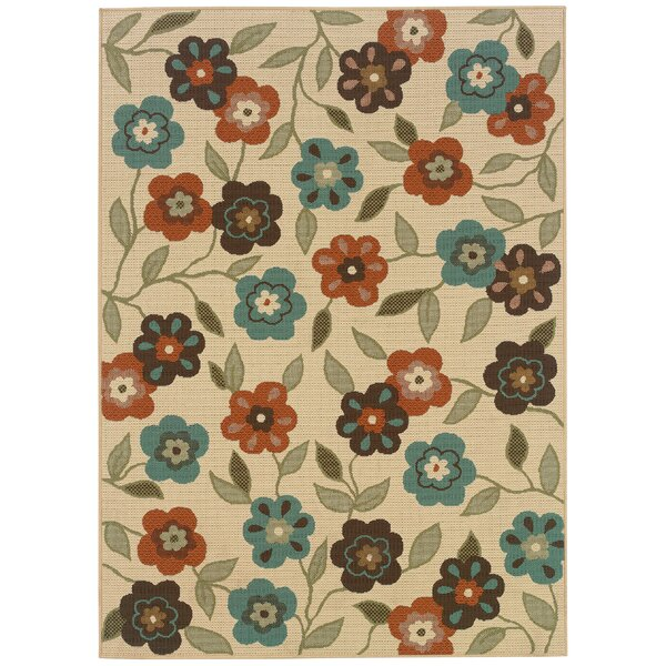 Newfield Ivory/Brown Indoor/Outdoor Area Rug by Threadbind