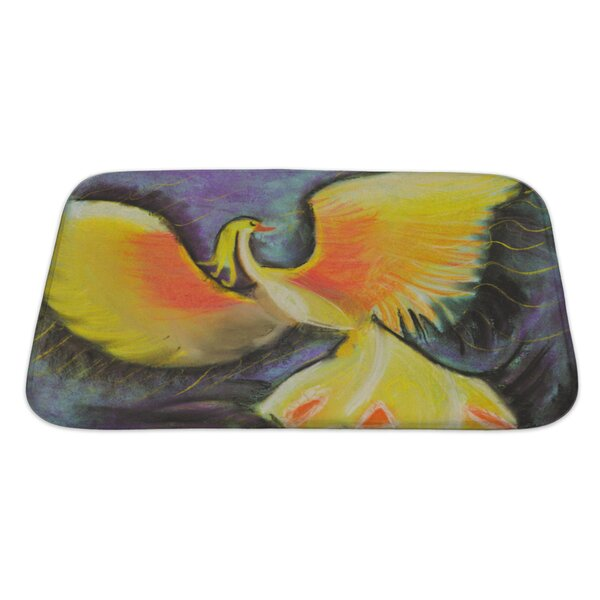 Birds Yellow Fairytale Phoenix Rectangle Non-Slip Bath Rug