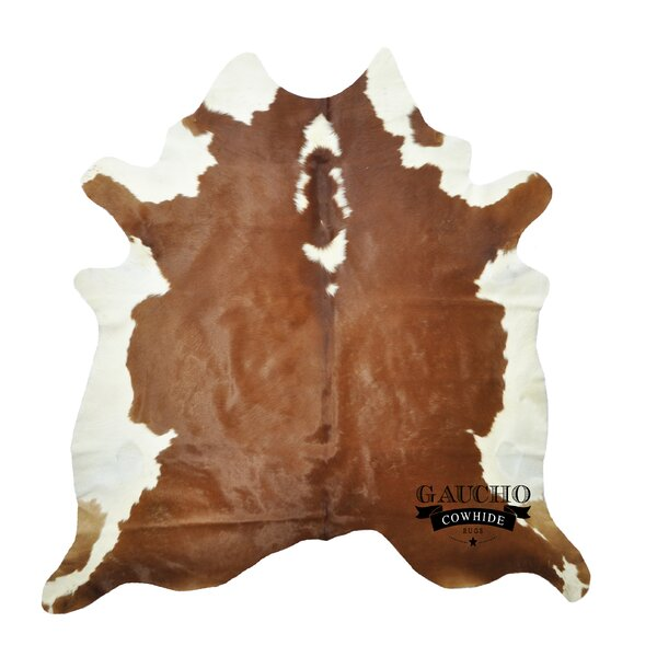 One-of-a-Kind Pinion Cowhide Brown/White Area Rug by Loon Peak