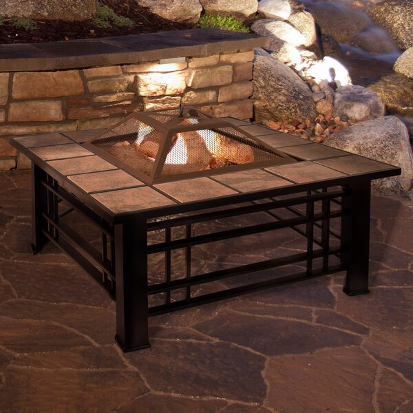 Tile Steel Wood Burning Fire Pit Table by Pure Garden