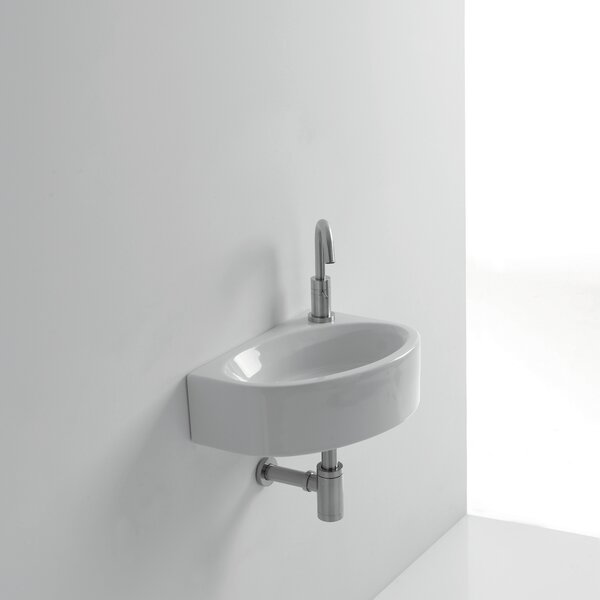 Mega Ceramic 17 Wall Mount Bathroom Sink with Overflow by WS Bath Collections