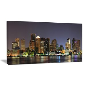 Boston City Night Panorama Cityscape Photographic Print on Wrapped Canvas by Design Art