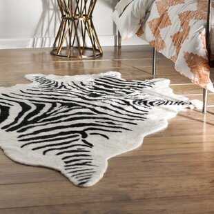 Hermosa Beach Hand Tufted Faux Cowhide Zebra Black Area Rug