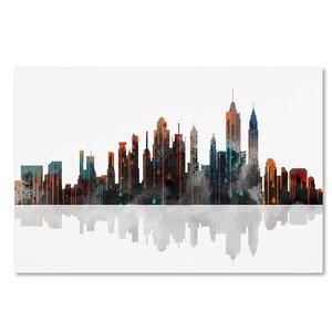New York New York Skyline by Marlene Watson Graphic Art on Wrapped Canvas by Trademark Fine Art