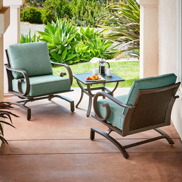 Kingston Seymour Milano 3 Piece Rattan Conversation Set with Cushions by Bayou Breeze