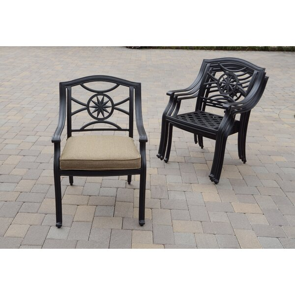 Capehart Stacking Patio Dining Chair with Cushion (Set of 4) by Darby Home Co