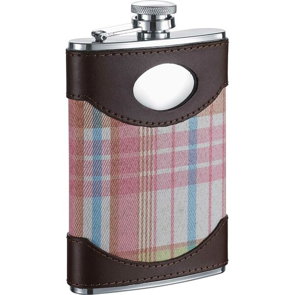 Hannah Pink Leather and Plaid Stainless Steel Hip Flask by Visol Products