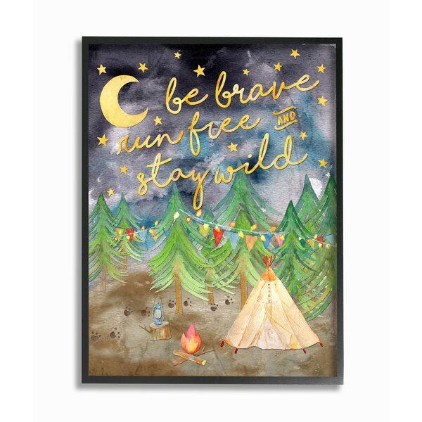 Be Brave Camping Giclee Framed Textual Art by Stupell Industries