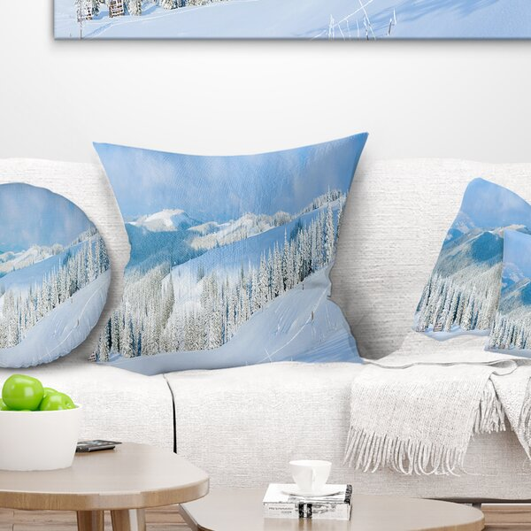 Landscape Photography Panoramic Winter Mountain Pillow by East Urban Home