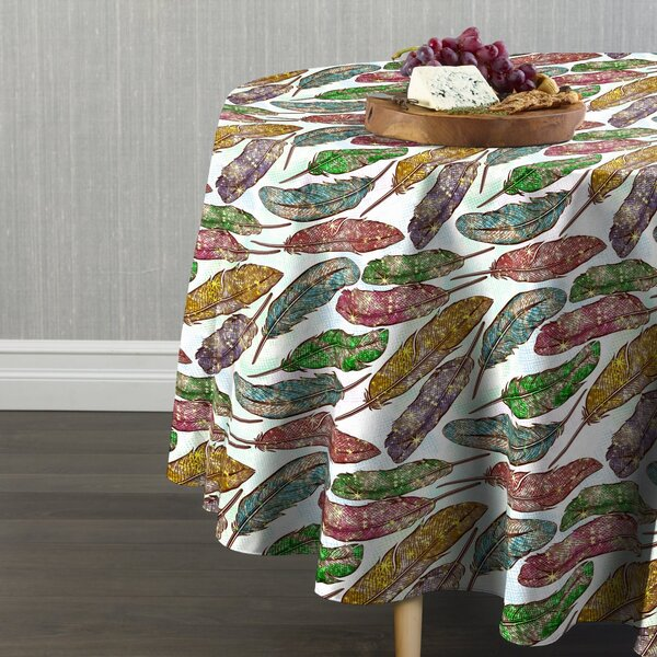 Eris Colorful Feathers Table Cloth by Bungalow Rose
