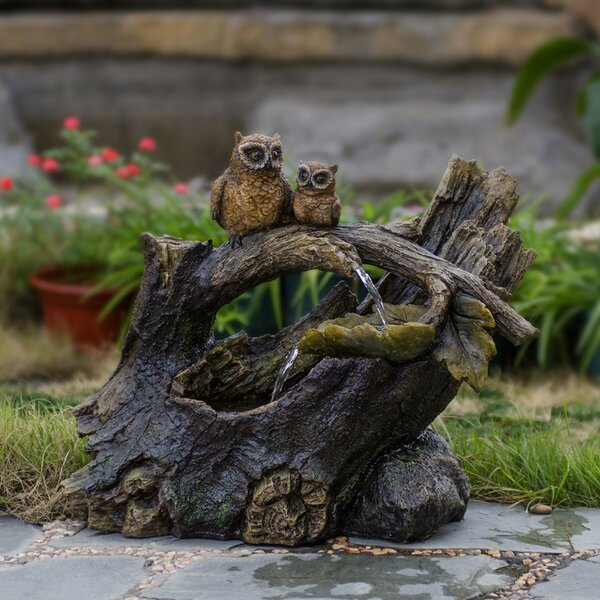 Resin/Fiberglass Tree Trunk Owls Fountain by Jeco Inc.